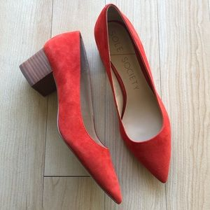 NWOB Sole Society Suede Red Andorra Block Heels